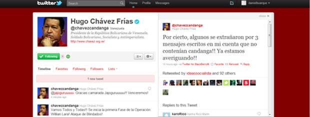 Reprodução do perfil de Chávez no Twitter, neste domingo
