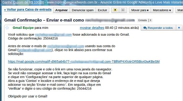 E-mail de confirmação.