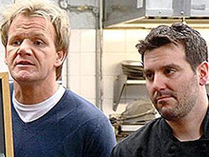 Ramsay e Cemiglia, durante o reality show do chef britânico