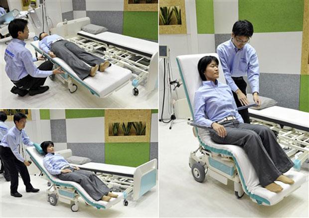 Cientistas robô cadeira e cama