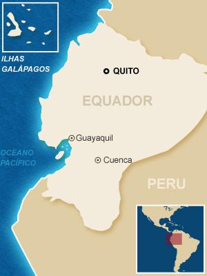 Mapa localiza as cidades equatorianas onde ocorreram os principais protestos.