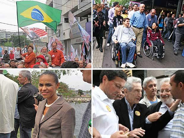 Dilma Rousseff participa de carreata ao lado de Lula, José Serra faz caminhada em São Paulo, Marina esteve no Rio pela manhã e Plínio fala com eleitores em São Paulo