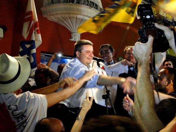 Antonio Anastasia, durante a festa da vitória em Belo Horizonte