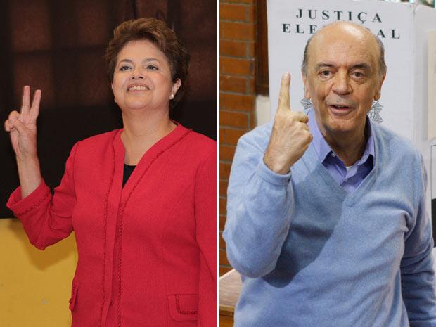 Dilma Rousseff (PT) e José Serra (PSDB) ao votarem na manhã deste domingo, em Porto Alegre e em São Paulo,  respectivamente