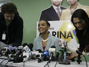 Marina Silva durante entrevista coletiva