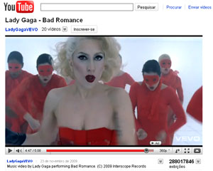 Lady Gaga no YouTube