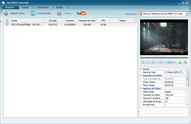 Opções do Any Video Converter se localizam à direita, onde é possível configurar a resolução do vídeo e demais opções. Na parte mais acima, o Profile (Perfil) permite selecionar uma configuração predefinida. Ele também pode pegar vídeos do YouTube
