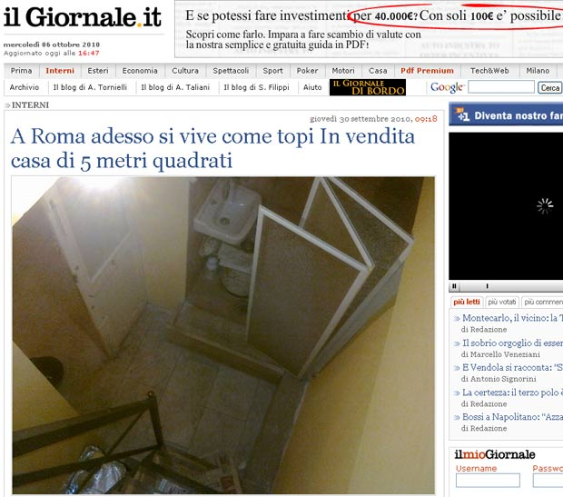 Apartamento de cinco metros quadrados foi colocado à venda em Roma.