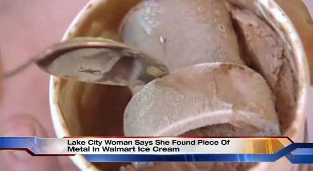 Mulher encontrou metal em pote de sorvete.