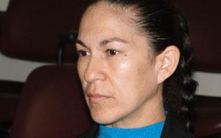 Mãe de Eliza Samudio, Sônia Moura de Fátima, em audiência que ouve testemunha de acusação.