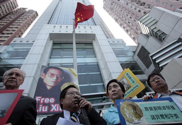 Manifestantes fizeram protesto em Hong Kong.