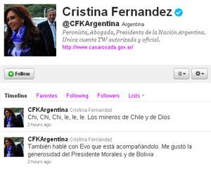 Cristina Kirchner comenta resgate de mineiros no Twitter
