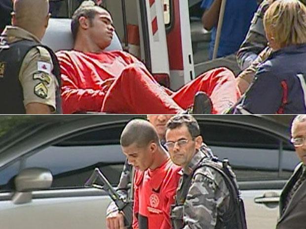 Bruno e Sérgio chegando ao hospital em Contagem
