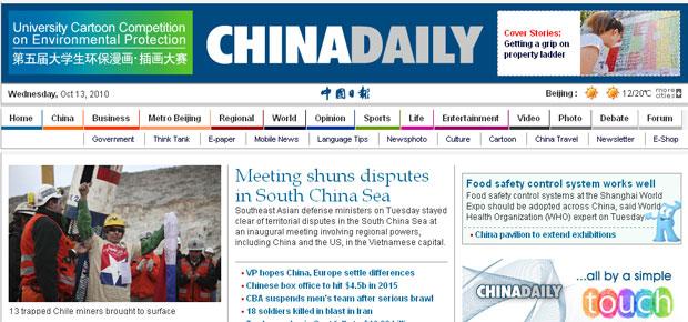 Resgate é um dos destaques da 'China Daily' on-line