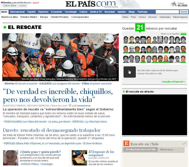 'Nos devolveram à vida', destaca o site do jornal espanhol 'El País'