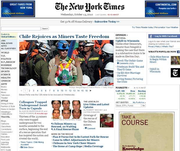 Chile se regozija enquanto mineiros provam a liberdade