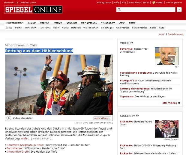 Site da revista alemã 'Der Spiegel' mancheta operação de resgate dos operários chilenos