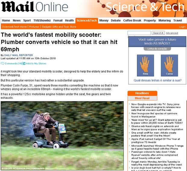 Colin Furze atingiu 111 km/h com cadeira motorizada