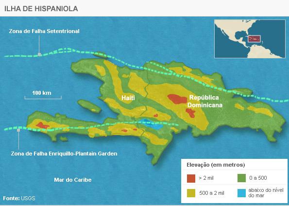 Mapa indica a falha geológica de Enriquillo-Plantain Garden