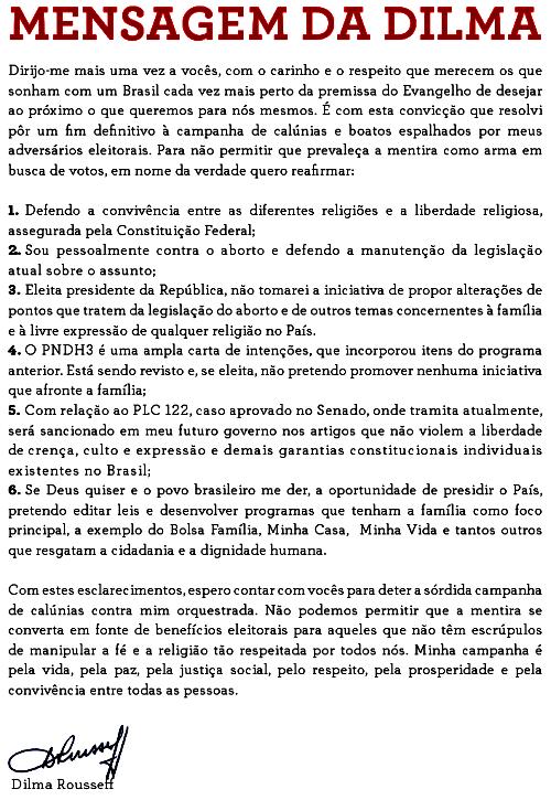 Mensagem da Dilma