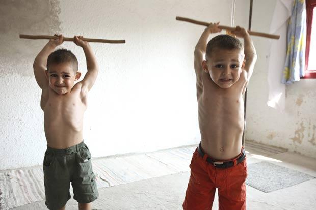 Claudiu e Giuliano Stroe durante rotina de treinamentos.I