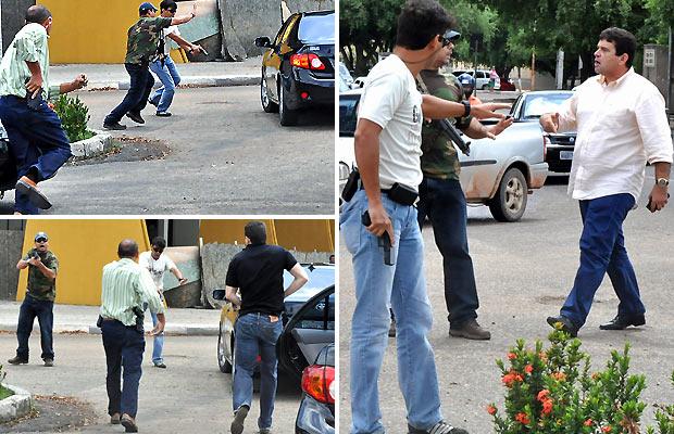 Sequência de fotos mostra discussão entre agentes federais e seguranças do governador de RR Anchieta Jr. (PSDB), de camisa branca à direita