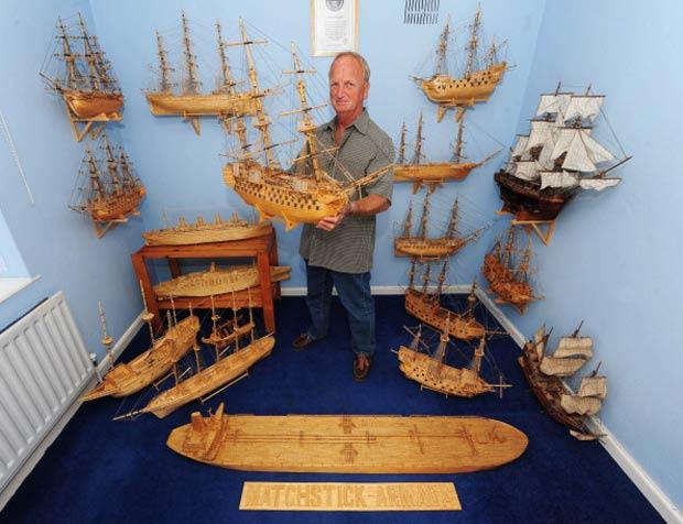 David Reynolds utilizou mais de 250 mil palitos para fazer suas criações.