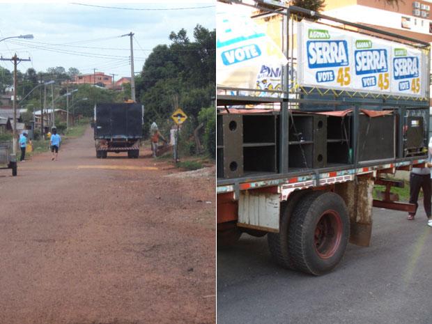 Flagrante da suposta distribuição de alimentos em troca de votos em Coxilha (RS). À direita, detalhe do caminhão apreeendido pela PF.