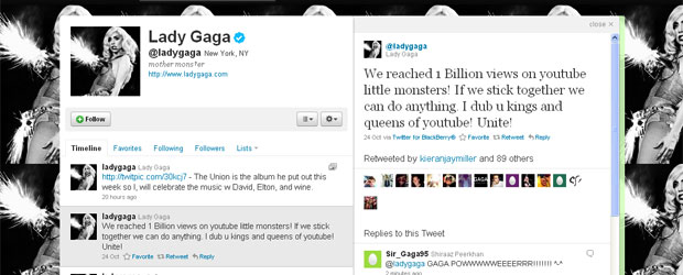 Lady Gaga comenta no Twitter marca de 1 bilhão de visitas no YouTube
