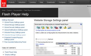 Para apagar cookie do Flash, é preciso acessar uma página específica no site da Adobe.