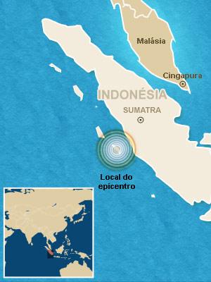 Mapa localiza o epicentro.
