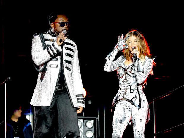 Will.i.am e a cantora Fergie durante o show do Black Eyed Peas no Rio. Apresentação durou pouco mais de duas horas e contou com a participação especial do cantor Jorge Ben Jor