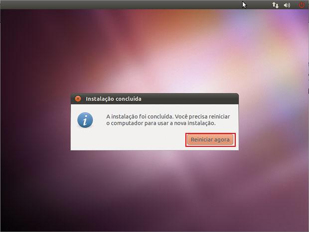 Finalizada a instalação do Ubuntu no computador.