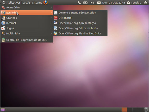 Tela inicial do Ubuntu.