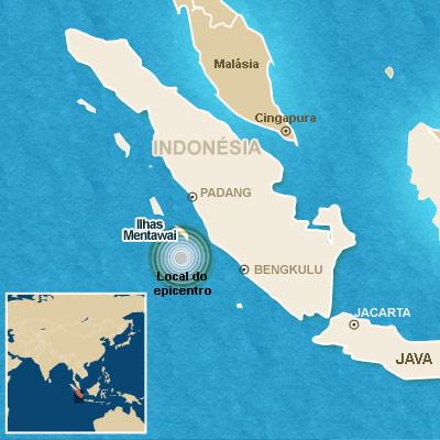 Mapa localiza o terremoto.