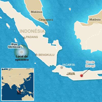 Mapa localiza o terremoto e o vulcão.