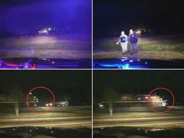 Mulher tem carro destruído por trem após ser presa no Texas.