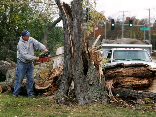 Operário usa serra elétrica para retirar pedaços de árvore que foi destruída pela tempestade em Illinois. Um galho desta árvore caiu sobre um carro e empalou a mulher que dirigia. Helem Miller foi levada ao hospital e sobreviveu ao acidente.