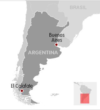 Mapa localiza El Calafate, onde Néstor Kirchner morreu.