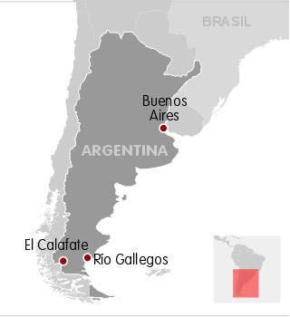 Mapa localiza El Calafate, onde Néstor Kirchner morreu, e Río Gallegos, onde ele deve ser enterrado.