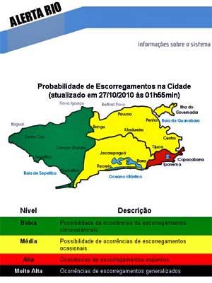 Mapa do portal Alerta Rio.