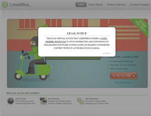 Site oficial do LimeWire apresenta mensagem dizendo que está fechado.
