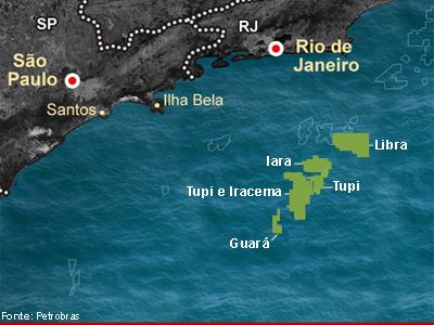 Mapa mostra áreas do pré-sal - Libra