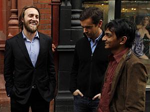 Chad Hurley (à esq.), ao lado de Jack Dorsey, do Twitter, e Divyank Turakhia, da Direct.