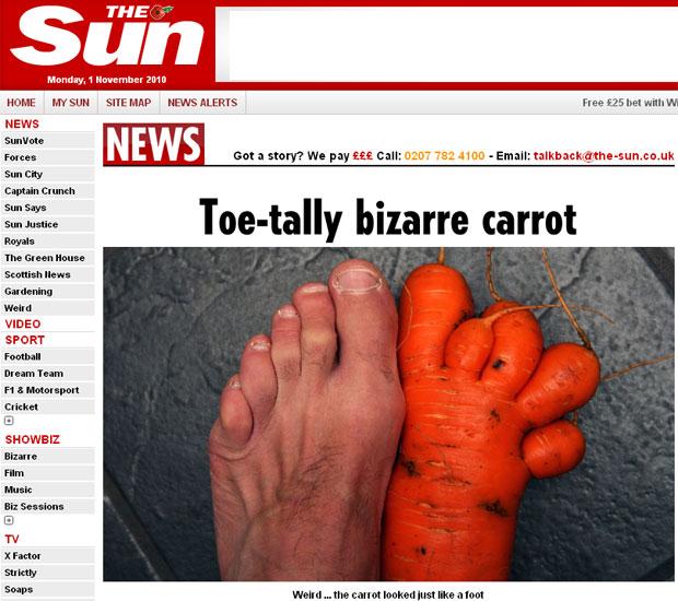 Cenoura com formato de pé