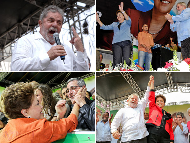 Em sentido horário, da foto ao lato à esquerda, imagens de Lula e Dilma em comícios em Campinas (SP), Betim (SP), Campinas (SP) e em Joinville (SC).