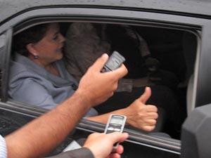 Dilma Rousseff ao deixar a casa , em Brasília