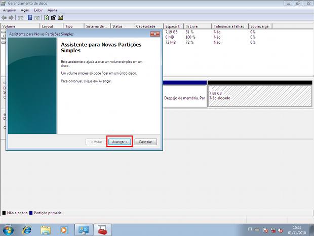 Assistente do Windows pra criação de novas partições