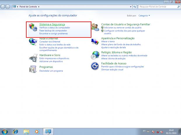 Painel de controle do Windows 7