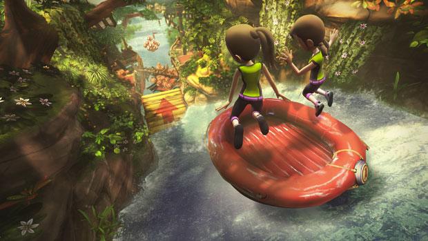 Cena de 'Corredeira', modalidade presente no game 'Kinect Adventures', que acompanha o Kinect.